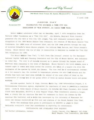 Arbor Day Press Release